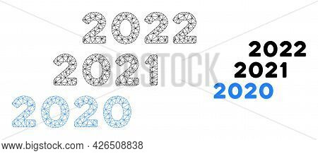 Mesh 2020 - 2022 Years Model Icon. Wire Carcass Triangular Mesh Of Vector 2020 - 2022 Years Isolated