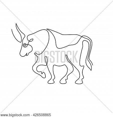Chinese Zodiac Symbol Of The Year Of The Bull. The Bull Is Drawn With One Line. Continuous Line.