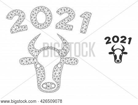 Mesh 2021 Bull Model Icon. Wire Carcass Polygonal Mesh Of Vector 2021 Bull Isolated On A White Backg