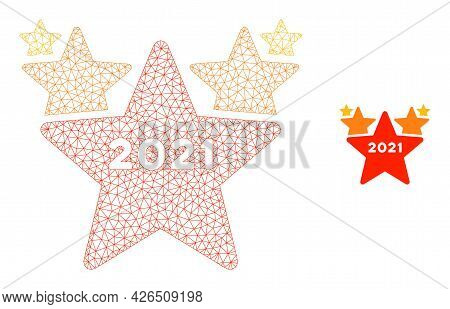 Mesh 2021 Star Hit Parade Model Icon. Wire Frame Triangular Mesh Of Vector 2021 Star Hit Parade Isol