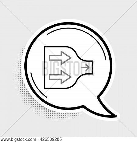 Line Arrow Icon Isolated On Grey Background. Direction Arrowhead Symbol. Navigation Pointer Sign. Co