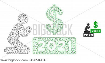 Mesh Man Pray Dollar 2021 Model Icon. Wire Frame Triangular Mesh Of Vector Man Pray Dollar 2021 Isol