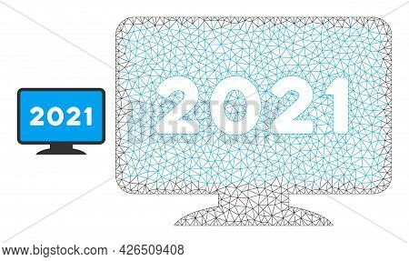 Mesh 2021 Display Screen Model Icon. Wire Frame Polygonal Mesh Of Vector 2021 Display Screen Isolate
