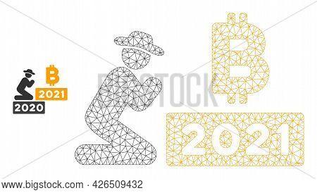 Mesh Gentleman Pray Bitcoin 2021 Model Icon. Wire Carcass Polygonal Mesh Of Vector Gentleman Pray Bi