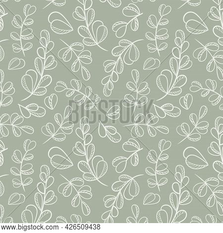 Deciduous Botanical Seamless Pattern, Vector Illustration. Continuous Natural Background With Leaves