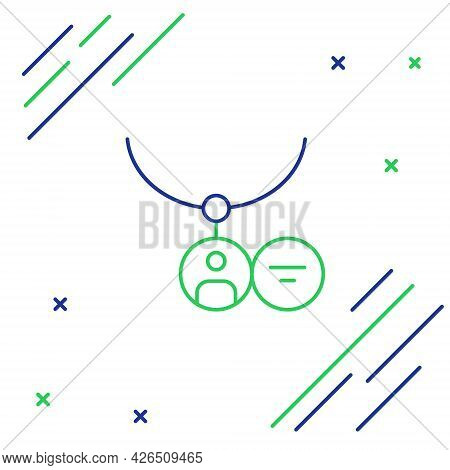 Line Locket On Necklace Icon Isolated On White Background. Colorful Outline Concept. Vector