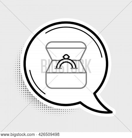 Line Diamond Engagement Ring In A Box Icon Isolated On Grey Background. Colorful Outline Concept. Ve