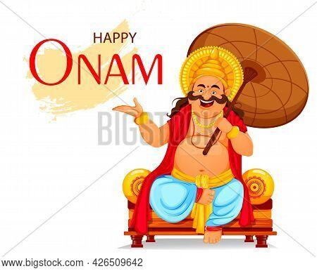 Happy Onam Festival In Kerala. Onam Celebration, Traditional Indian Holiday. King Mahabali Sitting W