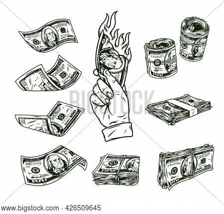 Vintage Monochrome Money Elements Concept With Male Hand Holding Burning American Cash Banknote Fall