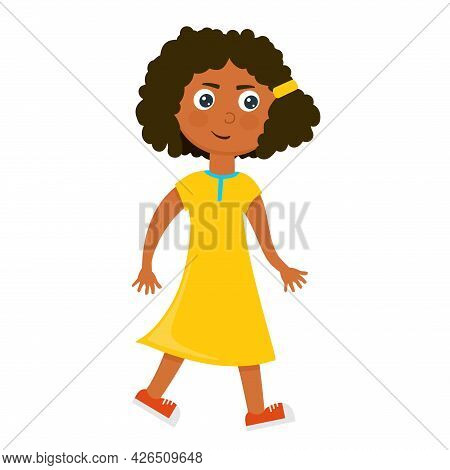 A Cheerful Girl Is A Dark-skinned Child In A Yellow Dress In A Cartoon Style.