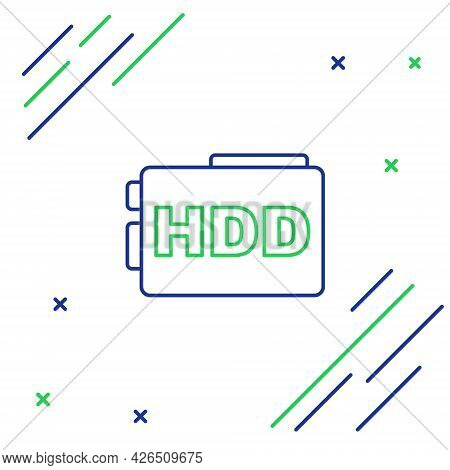 Line Hard Disk Drive Hdd Icon Isolated On White Background. Colorful Outline Concept. Vector