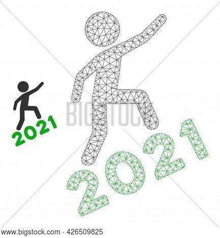 Mesh Man Climbing 2021 Model Icon. Wire Carcass Triangular Mesh Of Vector Man Climbing 2021 Isolated