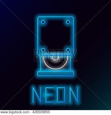 Glowing Neon Line Optical Disc Drive Icon Isolated On Black Background. Cd Dvd Laptop Tray Drive For