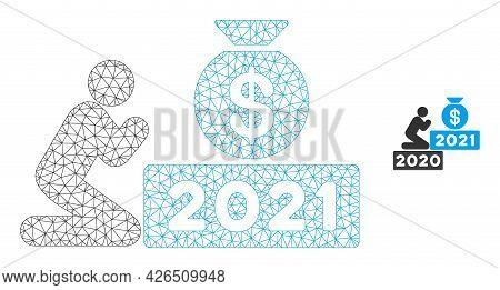 Mesh Pray For Money 2021 Model Icon. Wire Frame Polygonal Mesh Of Vector Pray For Money 2021 Isolate