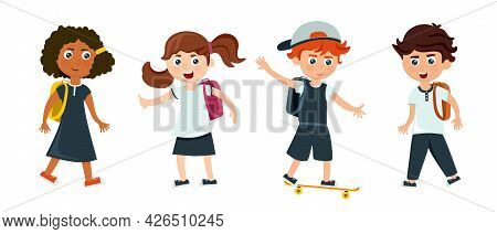 A Group Of Schoolchildren And Schoolgirls With Backpacks Going To School In A Cartoon Style. Vector