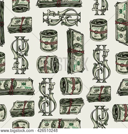 Money Colorful Vintage Seamless Pattern With Elegant Dollar Sign Rolls And Stacks Of One Hundred Us