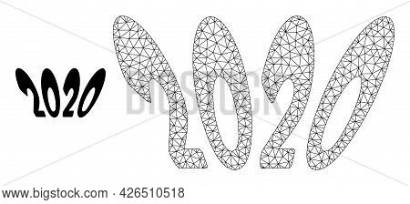 Mesh 2020 Perspective Text Model Icon. Wire Frame Polygonal Mesh Of Vector 2020 Perspective Text Iso