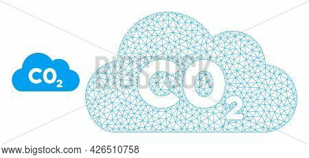 Mesh Co2 Gas Cloud Model Icon. Wire Carcass Polygonal Mesh Of Vector Co2 Gas Cloud Isolated On A Whi