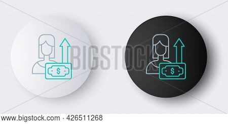 Line Money Growth Woman Icon Isolated On Grey Background. Income Concept. Business Growth. Investing