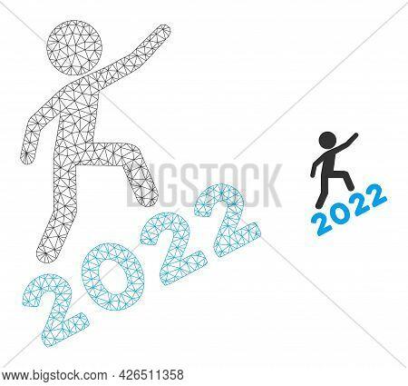 Mesh Man Climbing 2022 Model Icon. Wire Carcass Triangular Mesh Of Vector Man Climbing 2022 Isolated