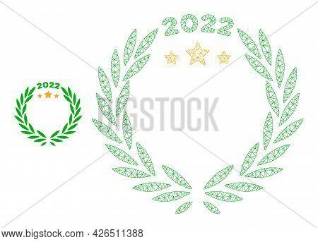Mesh 2022 Laurel Wreath Model Icon. Wire Carcass Polygonal Mesh Of Vector 2022 Laurel Wreath Isolate