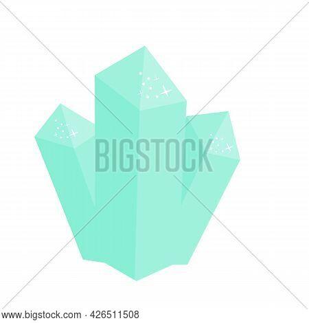Blue Magic Crystal. Vector Clip Art Of Precious Gemstone Diamond
