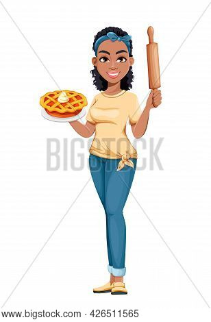 Pretty African American Housewife Holding Sweet Pie. Cute Lady Cartoon Character Doing Domestic Work
