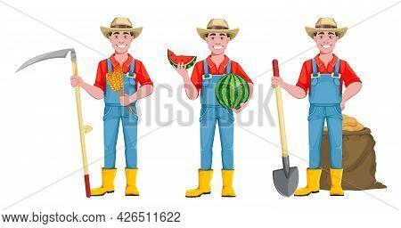 Handsome Man Farmer. Cheerful Male Farmer Cartoon Character, Set Of Three Poses. Stock Vector Illust