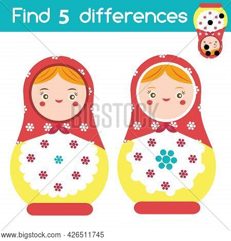 Find The Differences Educational Children Game. Kids Activity With Russian Matreshka Nesting Doll