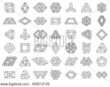 Impossible Geometric Shapes. Paradox Geometry Line Figures, Unexpanded, Impossible Geometry Vector S
