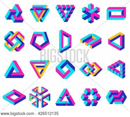 Geometric Impossible Shapes. Paradox Triangle, Square And Circular Figures, Optical Illusion Vector