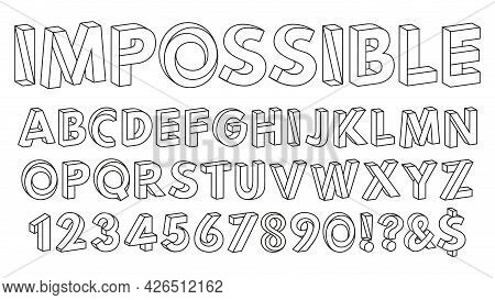 Impossible Shapes Font. Paradox Alphabet Letters And Numbers, Geometric Abc Figures Vector Illustrat