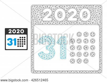 Mesh Last 2020 Day Model Icon. Wire Carcass Polygonal Mesh Of Vector Last 2020 Day Isolated On A Whi