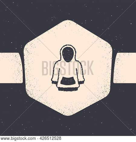 Grunge Hoodie Icon Isolated On Grey Background. Hooded Sweatshirt. Monochrome Vintage Drawing. Vecto