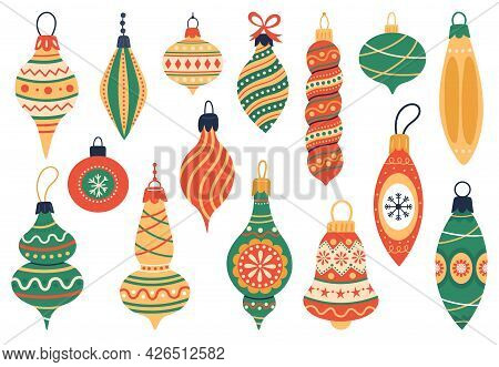 Christmas Tree Decorations. Xmas Holidays Fur Tree Toys, Cute Xmas Vintage Elements Vector Illustrat