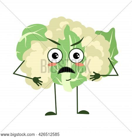 Cute Cauliflower Character With Angry Emotions, Face, Arms And Legs. The Funny Or Grumpy Food Hero,