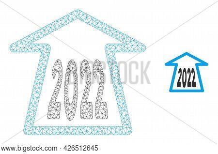 Mesh 2022 Ahead Arrow Model Icon. Wire Carcass Polygonal Mesh Of Vector 2022 Ahead Arrow Isolated On