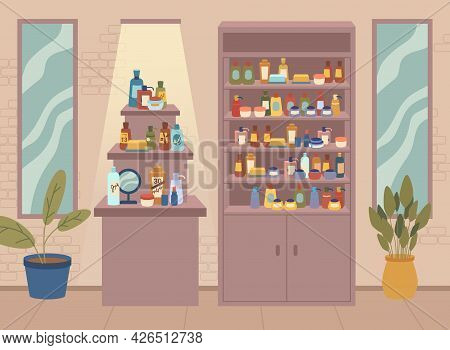 Beauty Shop, Cosmetics Store With Different Assortments, Various Skin And Body Care Bottles And Jars