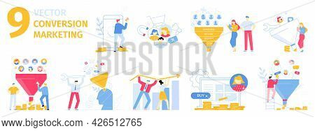 Conversion Marketing Illustration Set. Attracting New Customers, Client Buying Products Online. Incr