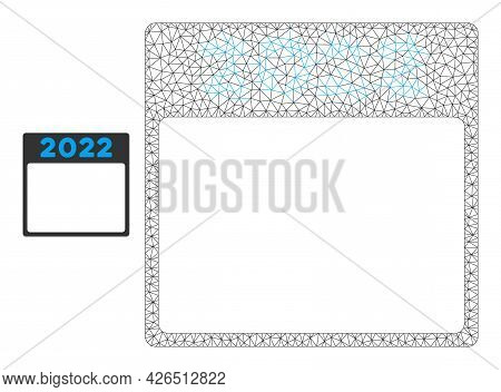 Mesh 2022 Calendar Page Model Icon. Wire Frame Triangular Mesh Of Vector 2022 Calendar Page Isolated