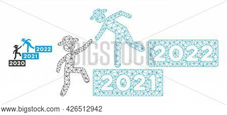 Mesh 2022 Year Guy Help Model Icon. Wire Frame Polygonal Mesh Of Vector 2022 Year Guy Help Isolated