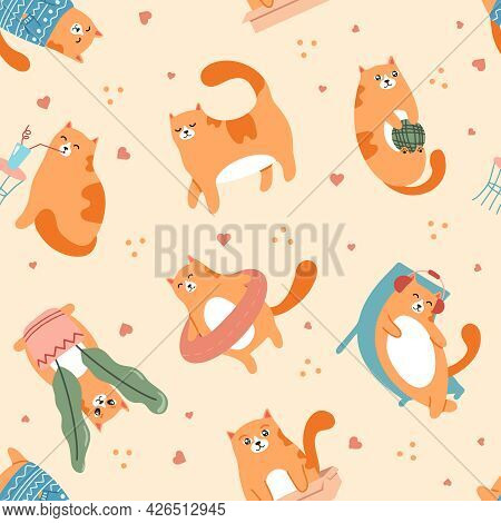 Cute Cats Playing Pattern. Pet Animal Walking, Resting On Chaise And Listening To Music In Earphones