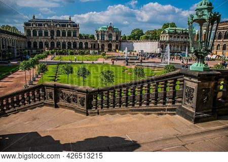 17 May 2019 Dresden, Germany -  The Architecture Details Of Zwinger, Bas Relief On Stairs Of The Por