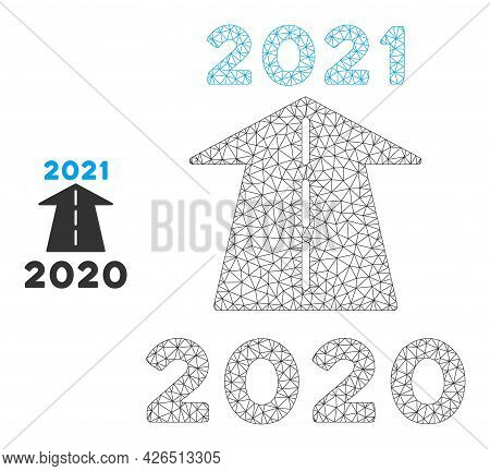 Mesh 2021 Future Road Model Icon. Wire Carcass Polygonal Mesh Of Vector 2021 Future Road Isolated On