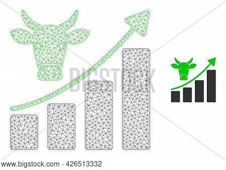 Mesh Bullish Market Trend Model Icon. Wire Frame Polygonal Mesh Of Vector Bullish Market Trend Isola