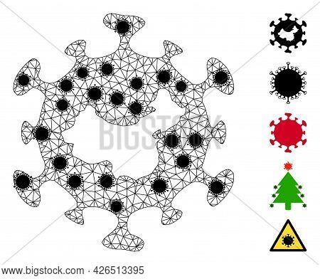 Mesh Chinese Flu Virus Polygonal Symbol Vector Illustration, With Black Virus Centers. Model Is Base
