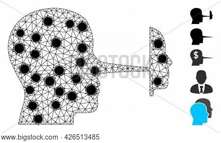 Mesh Liar Mask Polygonal Icon Vector Illustration, With Black Covid Elements. Carcass Model Is Based