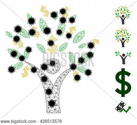 Mesh Money Tree Man Polygonal Icon Vector Illustration, With Black Coronavirus Elements. Carcass Mod