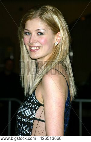 LOS ANGELES - NOV 02: Rosamund Pike arrives to  the 'Die Another Day' Hollywood Premiere on November 02, 2002 in Los Angeles, CA