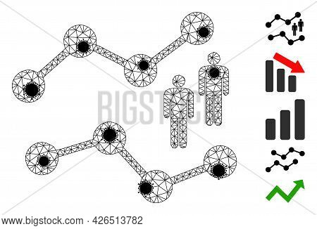 Mesh Audience Charts Polygonal Icon Vector Illustration, With Black Infection Items. Model Is Based